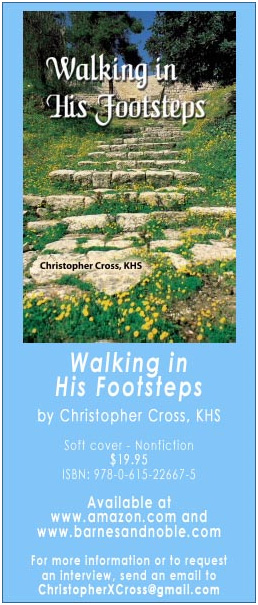 in the news catholic holyland pilgrimage trip christopher cross has written a book entitled Walking In His Footsteps